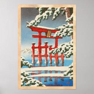 Miyajima in Snow Hasui Kawase shin hanga art Posters