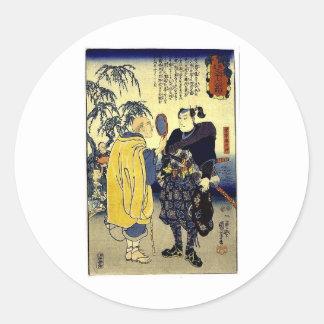 Miyamoto Musashi and the Fortune Teller c. 1800's Classic Round Sticker