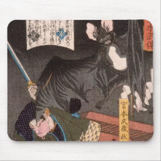 Miyamoto Musashi fighting a large bat circa 1867 Mousepad