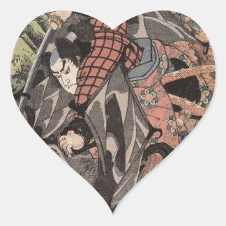 Miyamoto Musashi Painting c 1800 s Heart Sticker