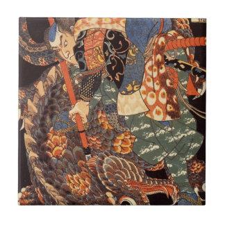 Miyamoto Musashi Painting c. 1800's Ceramic Tile
