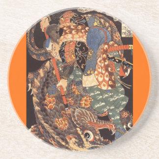 Miyamoto Musashi Painting c. 1800's Sandstone Coaster
