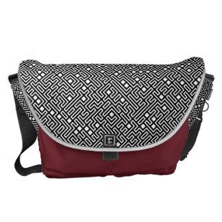 Mizaka XL Black White Messenger Bags