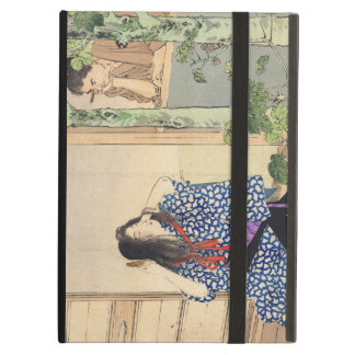 Mizuno Toshikata, Bijin combing hair vintage japan Cover For iPad Air