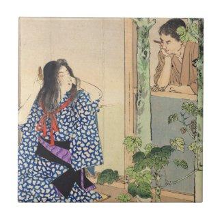Mizuno Toshikata, Bijin combing hair vintage japan Ceramic Tiles