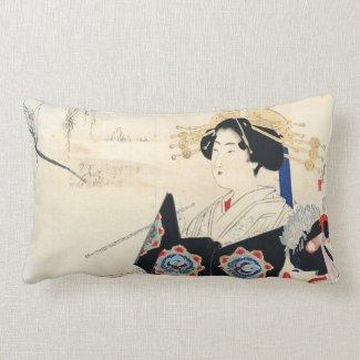 Mizuno Toshikata Courtesan and Maid oriental art Lumbar Pillow