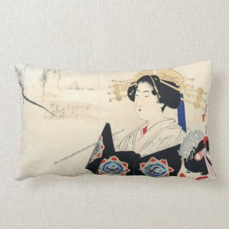 Mizuno Toshikata Courtesan and Maid oriental art Pillow