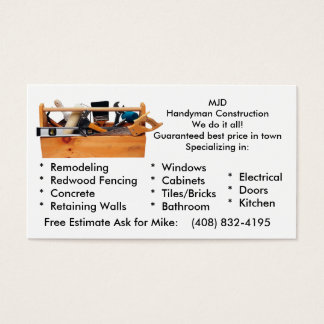 MJD Handy Man Business Card