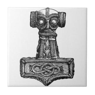 Mjolnir: El martillo del Thor Azulejo Cuadrado Pequeño