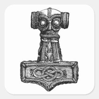 Mjolnir: El martillo del Thor Pegatina Cuadrada