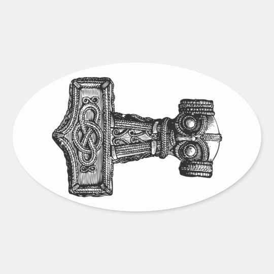 Mjolnir: El martillo del Thor Pegatina Ovalada