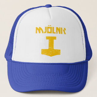 mjolnir_golden_destroyed trucker hat