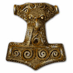 "Mj&#246;lnir in Brass 1 - Ornament Sculpture<br><div class=""desc"">Thor&#39;s Hammer - Mj&#246;lnir In Norse mythology, Mj&#246;lnir is the hammer of Thor, a major Norse god associated with thunder. Mj&#246;lnir is usually interpreted as meaning &quot;That which smashes&quot;, derived from the verb m&#246;lva &quot;To smash&quot; (cognate with English meal, mill); comparable derivations from the same root meaning &quot;hammer&quot; are Slavic...</div>"
