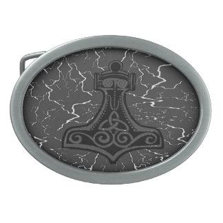 Mjolnir poderoso hebillas de cinturón ovales