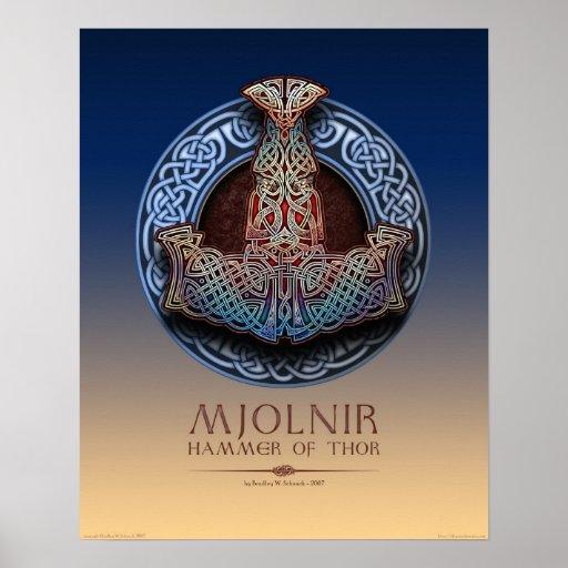 """Mjolnir - poster del martillo del Thor (16x20"""")"""