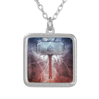 Mjolnir Silver Plated Necklace