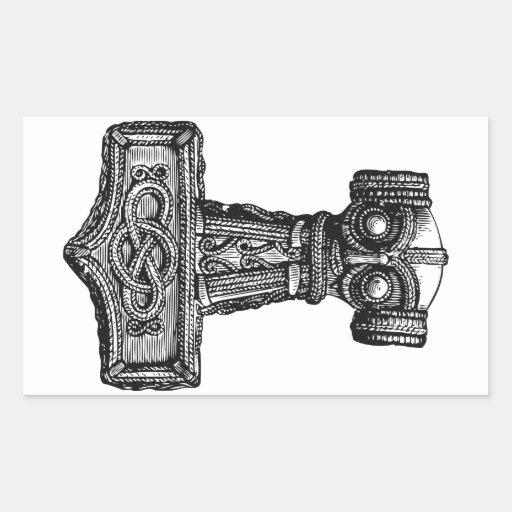 mjolnir thor s hammer rectangular sticker zazzle