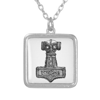 Mjolnir: Thor's Hammer Square Pendant Necklace