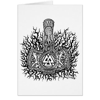 Mjolnir - Valknut Greeting Card