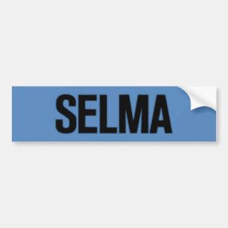 MLK Day-Selma Black on Blue Car Bumper Sticker