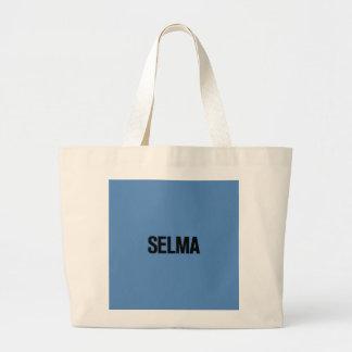 MLK Day-Selma Black on Blue Jumbo Tote Bag