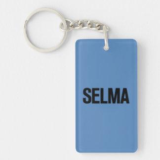 MLK Day-Selma Black on Blue Rectangle Acrylic Key Chains
