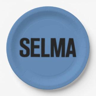 MLK Day-Selma Black on Blue Paper Plate