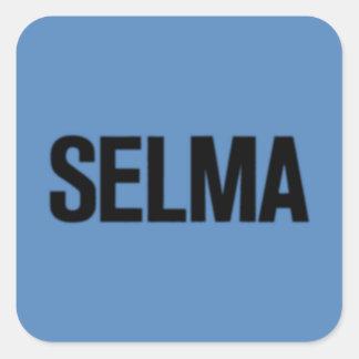 MLK Day-Selma Black on Blue Square Sticker