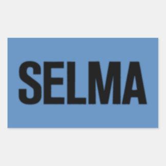 MLK Day-Selma Black on Blue Rectangular Sticker