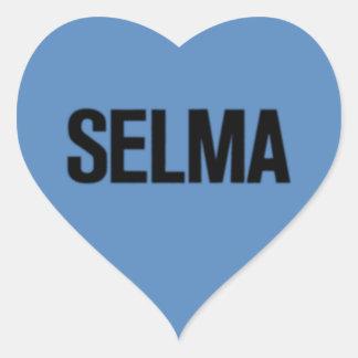 MLK Day-Selma Black on Blue Heart Sticker