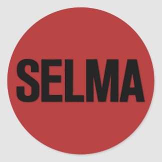 MLK Day- Selma Black on Red Classic Round Sticker