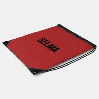 MLK Day- Selma Black on Red Drawstring Bag