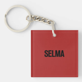 MLK Day- Selma Black on Red Single-Sided Square Acrylic Keychain