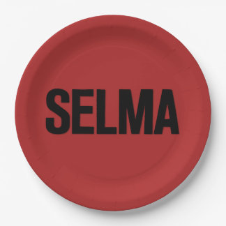 MLK Day- Selma Black on Red Paper Plate