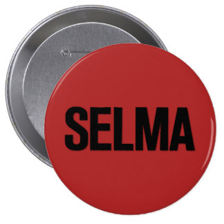 MLK Day- Selma Black on Red Pinback Button