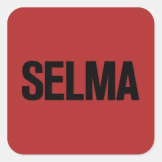 MLK Day- Selma Black on Red Square Sticker