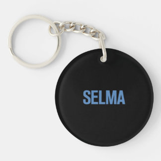 MLK Day-Selma Blue on Black Double-Sided Round Acrylic Keychain