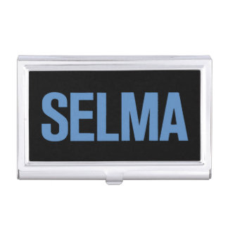 MLK Day-Selma Blue on Black Business Card Holders