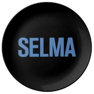 MLK Day-Selma Blue on Black Porcelain Plate