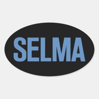 MLK Day-Selma Blue on Black Oval Sticker