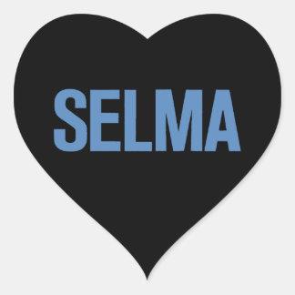 MLK Day-Selma Blue on Black Heart Sticker