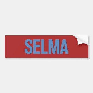 MLK Day-Selma Blue on Red Car Bumper Sticker