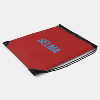 MLK Day-Selma Blue on Red Drawstring Bag