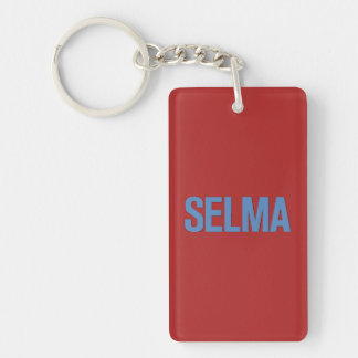 MLK Day-Selma Blue on Red Double-Sided Rectangular Acrylic Keychain