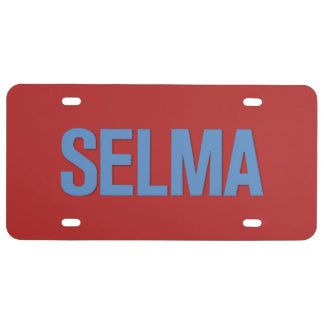 MLK Day-Selma Blue on Red License Plate