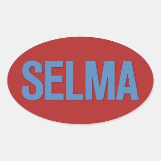 MLK Day-Selma Blue on Red Oval Sticker