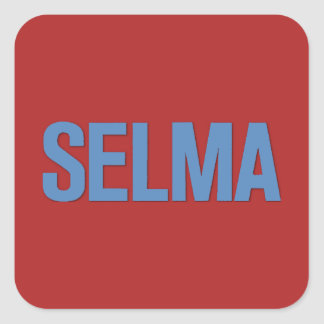 MLK Day-Selma Blue on Red Square Sticker