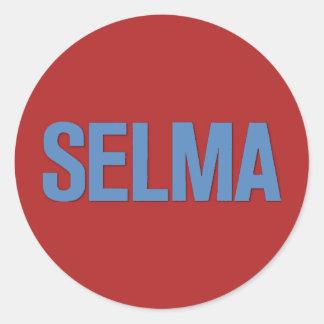 MLK Day-Selma Blue on Red Classic Round Sticker
