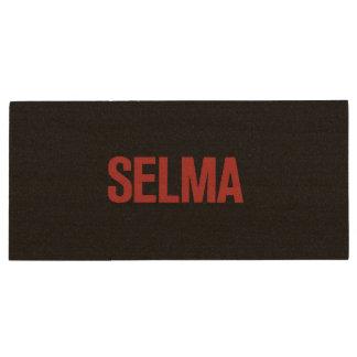 MLK Day-Selma-Red on Black Wood USB 2.0 Flash Drive