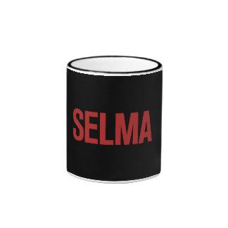 MLK Day-Selma-Red on Black Coffee Mugs